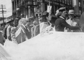 People marching in the V-J Day parade