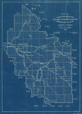 Map of eastern section irrigation block Canadian Pacific Railway, Alberta, Canada