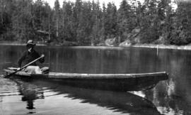 Dug out [dugout canoe] on West Lake, Nelson Island