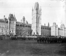 Inspection by the Duke of Connaught at Parliament Building Ottawa, since burnt down