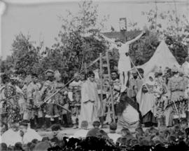 [Native Indian individual re-enacting a scene from the crucifixion of Jesus Christ for Passion Pl...