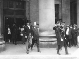[The Right Honourable Baron Byng and His Worship W.R. Owen leaving the C.P.R. Station]