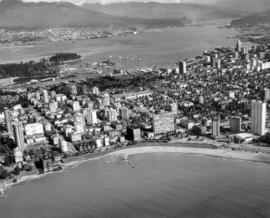 [Aerial view of the West End and Coal Harbour from English Bay]