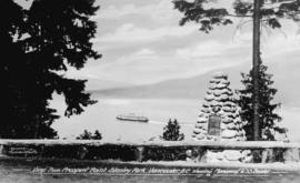 View from Prospect Point, Stanley Park, Vancouver, B.C., showing monument to S. S. Beaver.