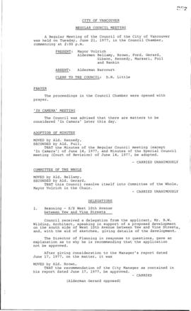 Council Meeting Minutes : June 21, 1977