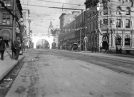 [Canadian Northern Railway arch erected at Hastings and Seymour Streets for visit of the Duke of ...