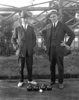 [Portrait of two men at] Vancouver Lawn Bowling Club