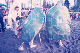 People dressed in Expo '86 turtle costumes at Polar Bear Swim