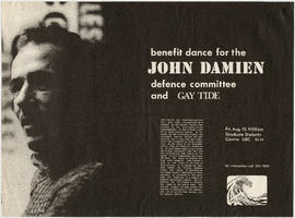 Benefit dance for the John Damien Dance Committee and Gay Tide : Fri. Aug. 15 : Graduate Student&...