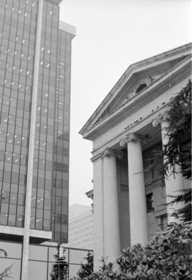 Columns of the provincial courthouse annex and 777 Hornby Street