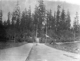 [The entrance to Stanley Park from the Coal Harbour Bridge]