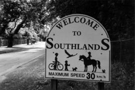 "Blenheim Street sign, ""Welcome to Southlands"""