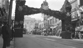 [Great Norther Railway arch on Hastings Street between Hamilton Street and Homer Street erected f...