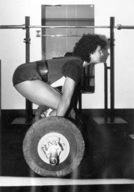 [Jen Sutterfield weight-lifting at Mount Pleasant Community Centre]