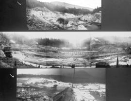 [Three view of Coquitlam Dam construction]