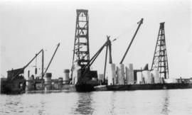 [View from the water of Ballantyne Pier under construction]