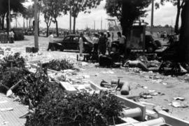Riot damage, rubble and debris on the street