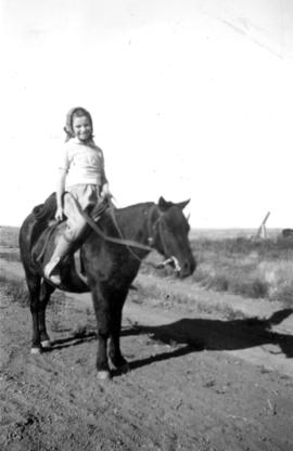 Jane [Banfield] up [on a horse]