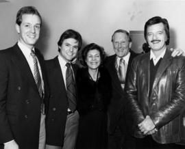 Sandy Logan, Larry Beasley, unidentified woman, Hugh Pickett and Robert Goulet