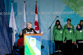 Day 1 Prime Minster Stephen Harper delivers his speech from the Community Celebration Stage in Ot...