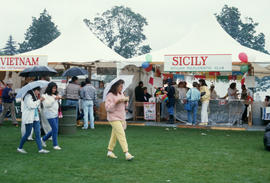 Vietnam and Sicily stands at the Food Fair during the Centennial Commission's Canada Day cel...