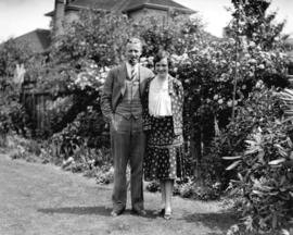 Miss Francis Leigh and Ken Mair [in garden]