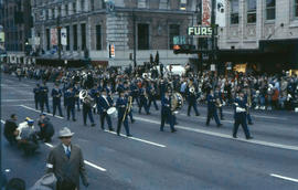 [Grey Cup parade, downtown Vancouver, marching band]