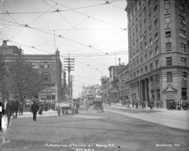 The business centre of Vancouver 1911. Hastings Street [at Cambie Street]