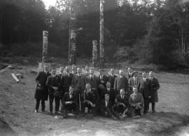 Canadian all-star soccer team in front of totem poles, Stanley Park