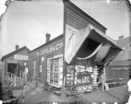 [Exterior of N. Caple and Co. store at 329 Hastings Street, showing stationery in window and toys...
