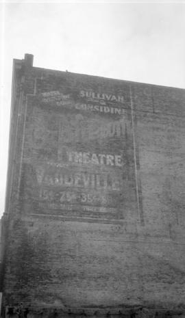 Old Theatre Ad. [on the side of a building]