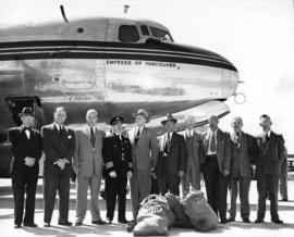 "[Canadian Pacific Airlines first air mail flight in ""Empress of Vancouver"" to Australia]"