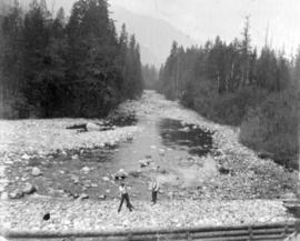 [Seymour Creek and two unidentified men]