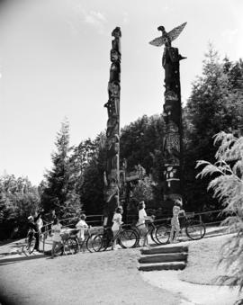 Canadian Youth Hostel bike hike [stop at totem poles]