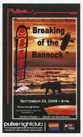 "Greater Vancouver Native Cultural Society proudly presents ""Breaking the Bannock"" : Sep..."