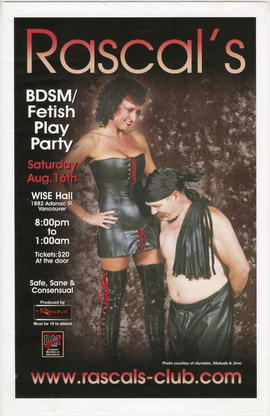 Rascal's BDSM/fetish play party : Saturday, Aug. 16th : Wise Hall