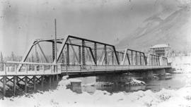 Bow River Bridge and sanitarium hotel (winter)