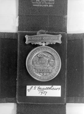 """A Good Citizen Medal"" presented to J.S. Matthews, City Archivist, by acting Mayor T.J...."