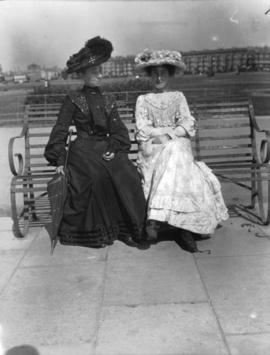 Letty Jones and Aunt Lizzie [seated on bench]