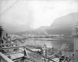 [View of waterfront and buildings, Ocean Falls, B.C.]