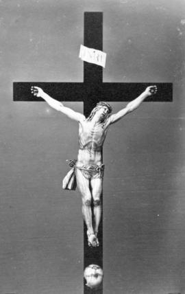 [Wooden representation of the crucifixion of Jesus Christ]