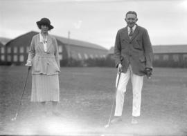 [Mr. and Mrs. M.A. Van Roggen at the Jericho Country Club golf course]