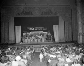 [Dal Richards and band on stage at the Orpheum for a Bay fashion show]