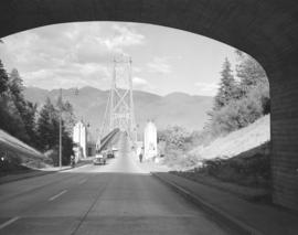 [Northern view through causeway bridge of] Lions Gate Bridge