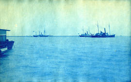 [View of steamboats on the ocean, possibly off the coast of Kennebunkport, Maine.]