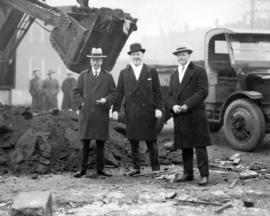 [Mayor L.D. Taylor, Col. E.J. Ryan, contractor, and T.S. Dixon of the Vancouver Board of Trade st...