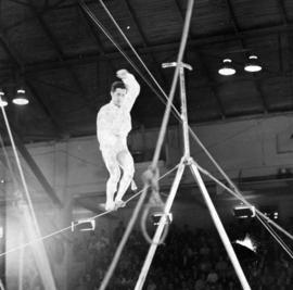 High wire act in P.N.E.-Shrine Circus in P.N.E. Forum