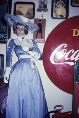 Mannequin and coke signs at Grocery Hall of Fame during Vancouver Historical Society tour