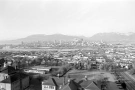 Downtown cityscape over Mount Pleasant, Fairview, and False Creek
