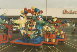 P.N.E. Centennial float in Woodward's parking lot